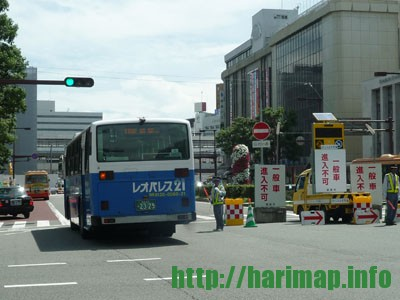 姫路駅前通行止め